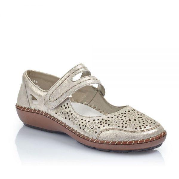 Rieker 44875-14 Ladies Beige Shoes with Hook and Loop Fastening
