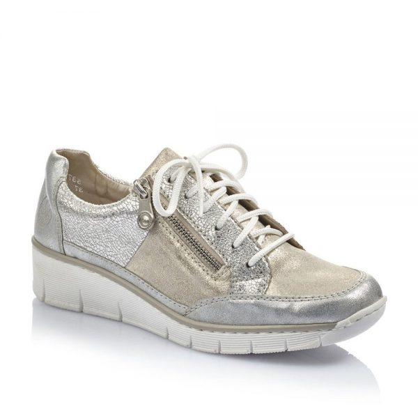 Rieker 53716-80 Ladies Silver and Gold Combination Shoes