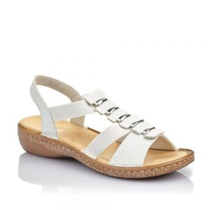 Rieker 62850-80 Ladies White Sling Back Sandals