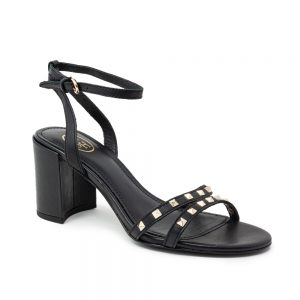 Ash Janis Heeled Sandals Black Leather & Studs