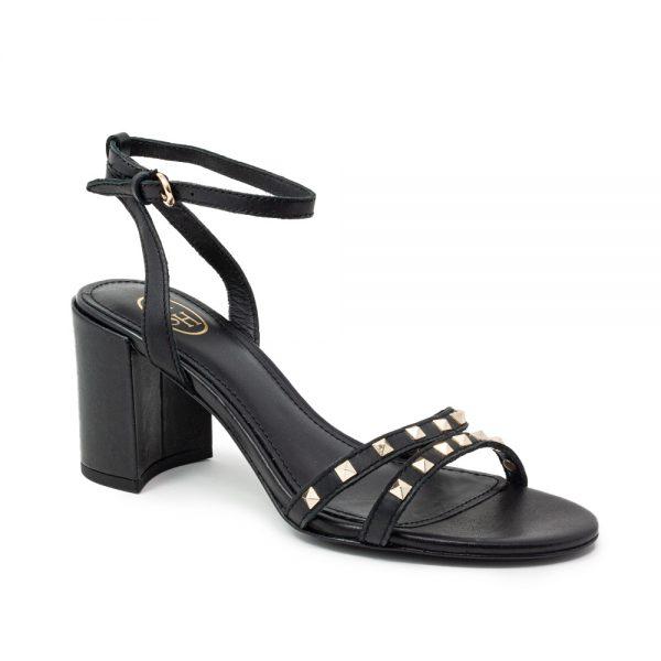 Ash Janis Heeled Sandals Black Leather & Studs