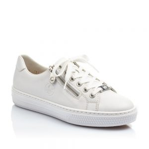 Rieker L59L1-80 Ladies White Lace Up Shoes