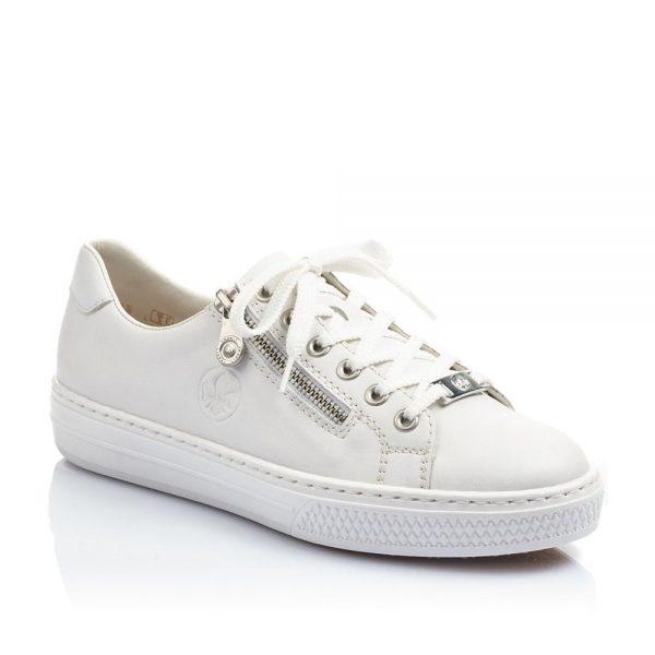 Rieker L59L1-80 Ladies White Lace Up Shoes