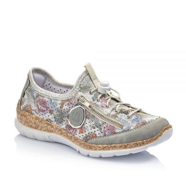Rieker N42V1-40 Ladies Grey Combination Slip On Shoes