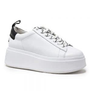 Ash Moon Platform Trainers White & Black Leather