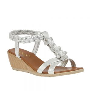 Lotus Aiana Silver Sandals. Premium Open - Toe Sandals.