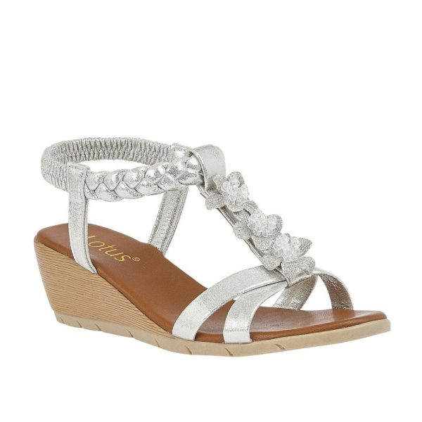 Lotus Aiana Silver Sandals. Premium Open - Toe Sandals.