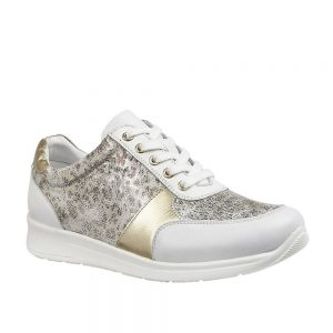 Lotus Florence White & Leopard Print Premium Shoes.