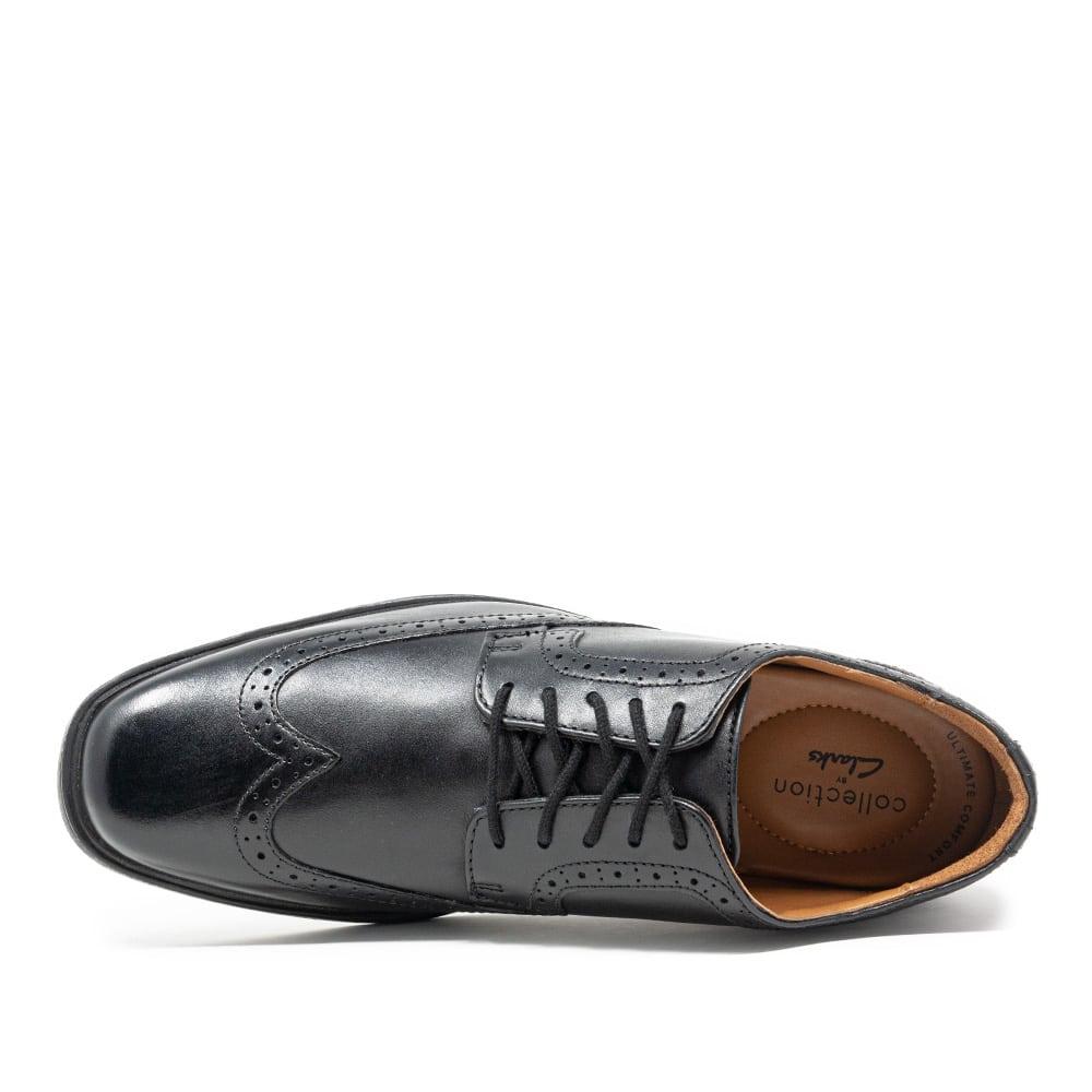 Estacionario comportarse yo lavo mi ropa  Clarks Tilden Wing Black Leather Premium Shoes - 121 Shoes