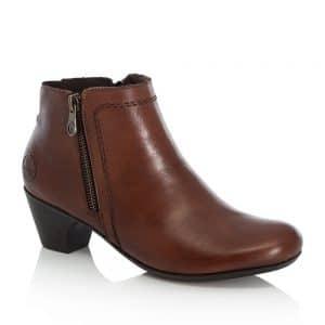 Rieker 70551-24 Ladies Brown Zip Up Ankle Boots