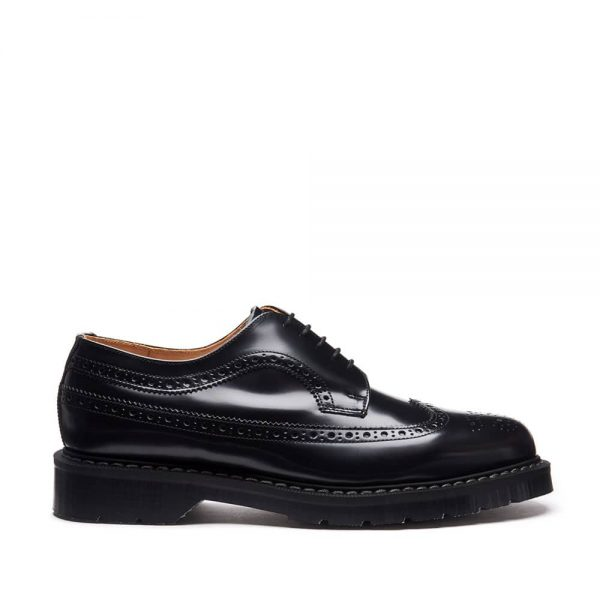 Solovair Black Hi-Shine American Brogue