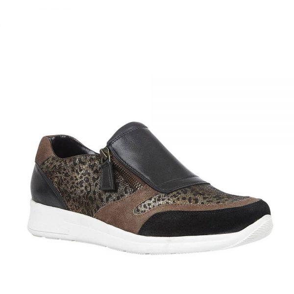 Lotus Sian Black Leather/Leopard