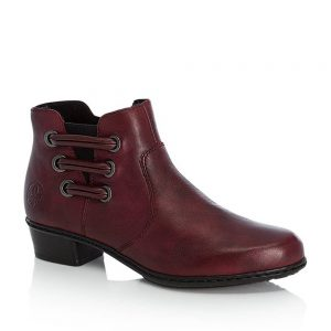 Rieker Y07B0-30 Ladies Red Zip Up Ankle Boots