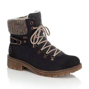 Rieker Y9131-14 Ladies Blue Zip Up Ankle Boots