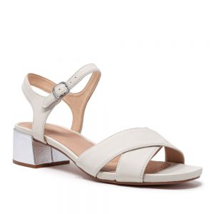Clarks Sheer35 Strap White Silver Leather