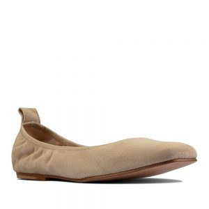 CLARKS Pure Ballet Taupe Leather