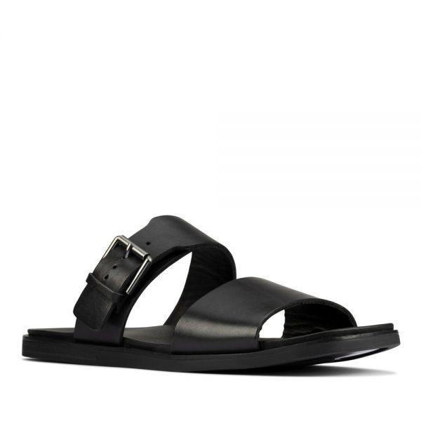 Clarks Ofra Slide Black Leather. Premium Sandals