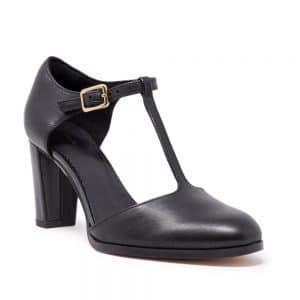 Clarks Kaylin85 TBar2 Black Leather. Premium Shoes.