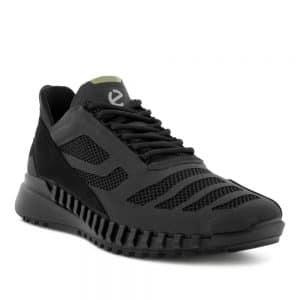 Ecco Zipflex M Low Tex Black. Premium Leather Sneakers