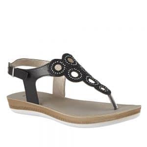 Lotus Milan Black Sandal. Premium Sandals