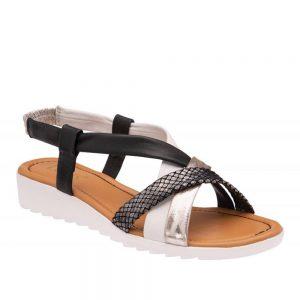 Lotus Ronnie Black Multi Leather. Premium Sandals