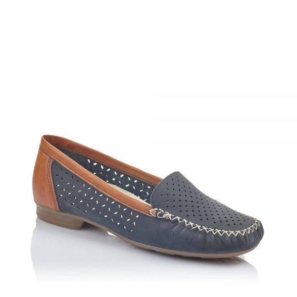 Rieker 40086-14 Ladies Blue Slip On Shoes