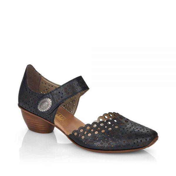 Rieker 43753-00 Ladies Black Hook & Loop Shoes