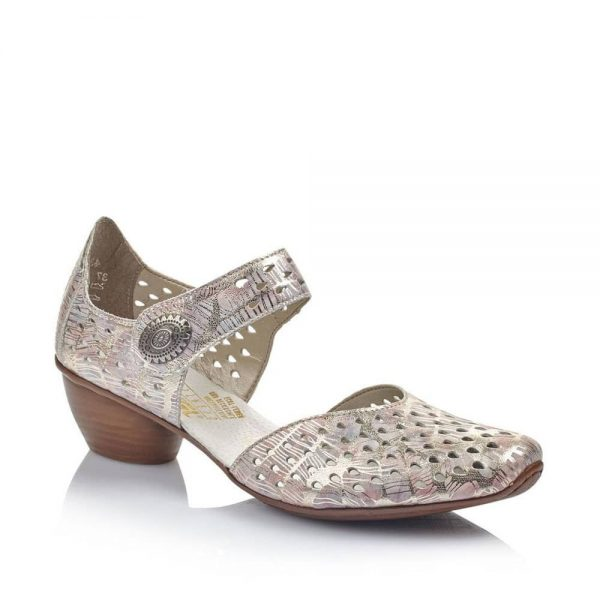 Ladies shoes with low heel and hook and loop fastening strap. These shoes have a stencil detailing as well as a pretty multi colour pastel print.