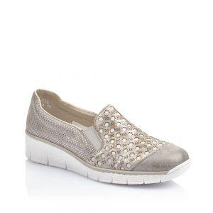 Rieker 537W4-40 Ladies Grey Combination Slip On Shoes