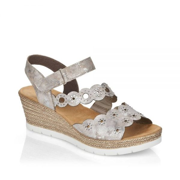 Rieker 619C5-90 Ladies Metallic Slip On Sandals