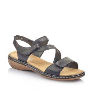 Rieker 659C7-00 Ladies Black Fastener Sandals