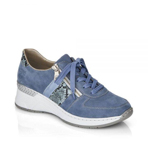 Rieker N4321-11 Ladies Blue Lace Up Shoes