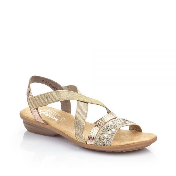 Rieker V3463-60 Ladies Beige Fastener Sandals