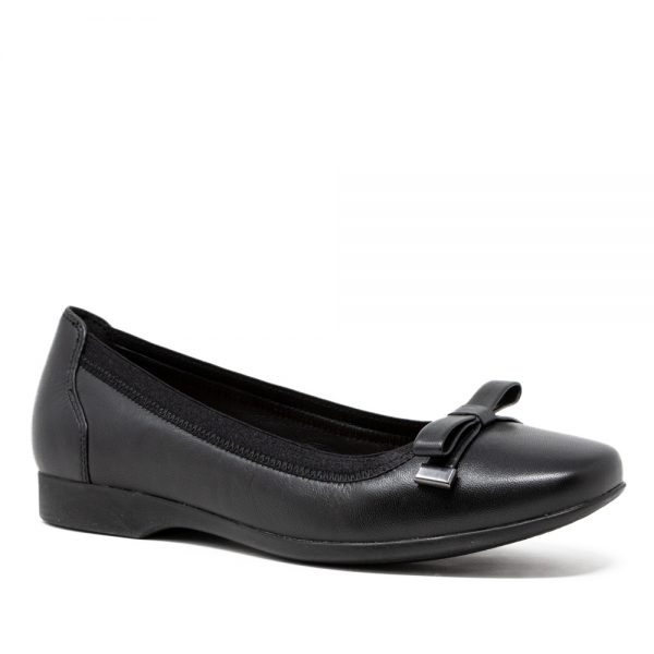 CLARKS Un Darcey Bow Black Leather