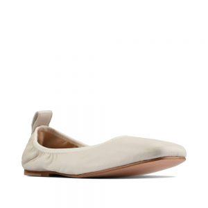 CLARKS Pure Ballet White. Premium Leather Shoes
