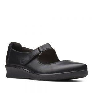 CLARKS Hope Henley Black Leather