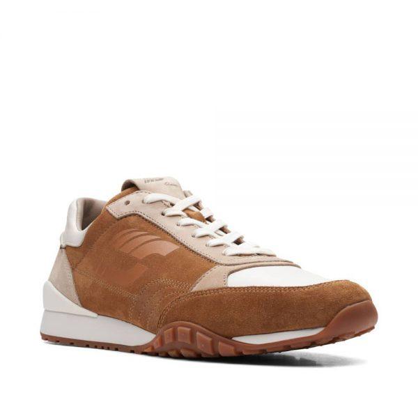 CLARKS CraftLo Lace Dark Tan Combi. Premium Shoes