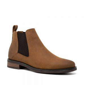 CLARKS Memi Top Dark Tan. Premium Leather Shoes.
