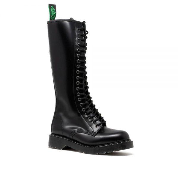 Solovair Black Hi-Shine 20 Eye Zip Derby Boot
