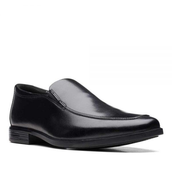 CLARKS Howard Edge Black Leather. Premium Shoes